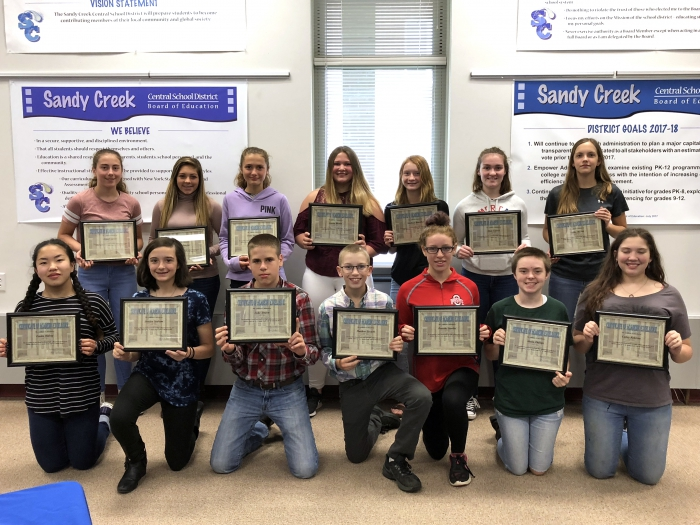 Pictured at the lucheon in front, left to right are: Emma Halsey, Jessica Graham, Luke Yerdon, Matthew Trudell, Dorothy Searles, Alexia Phillips and Cailey Robbins. In back, left to right are: Abigail Lantry, Harley Douglas, Claire Dreibelbis, Alayna Blount, Mary Carnes and Hailey McNitt.
