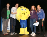 �I can honestly say,� said Andy Thibodeau, �that I have never been introduced by a Comet before!� Pictured left to right are: Sandy Creek High School Principal Emily Wemmer, Thibodeau, SC Comet mascot (Bailey Fahnestock), Alison Lantry and Middle School Principal Carolyn Shirley.